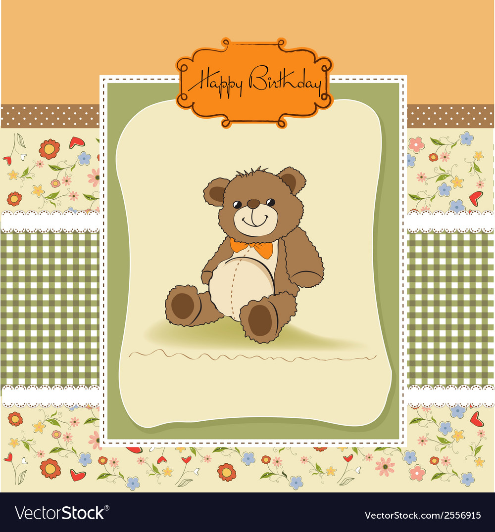 Birthday card with a teddy bear vector | Price: 1 Credit (USD $1)