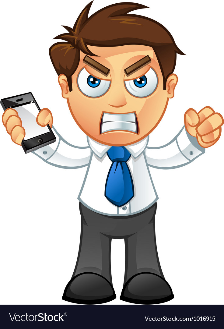 Business man angry with mobile vector | Price: 3 Credit (USD $3)