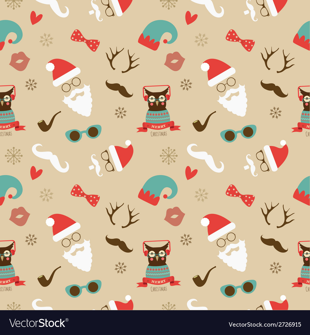 Christmas hipster retro seamless pattern vector | Price: 1 Credit (USD $1)