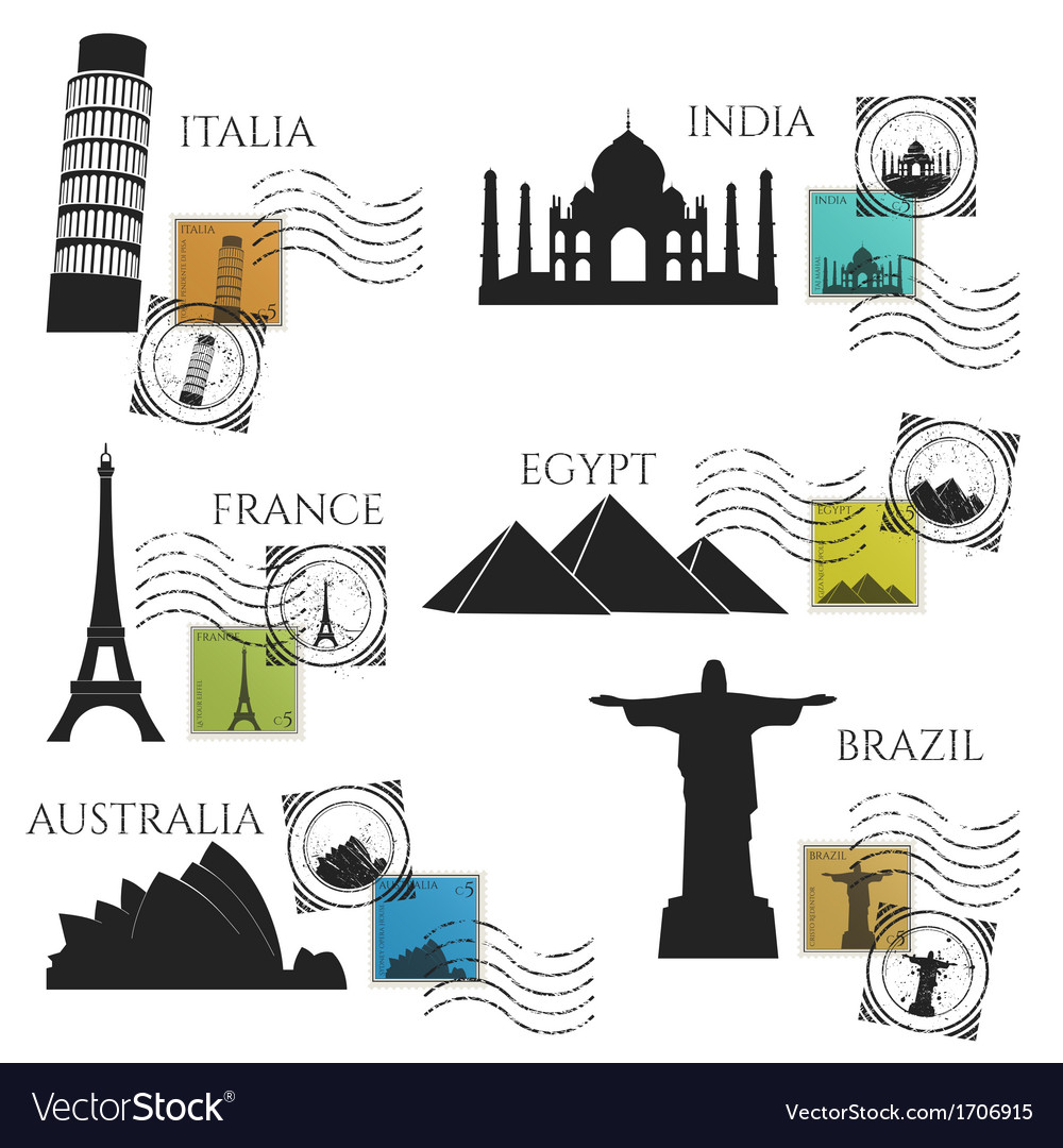 City monuments postage collection vector | Price: 1 Credit (USD $1)