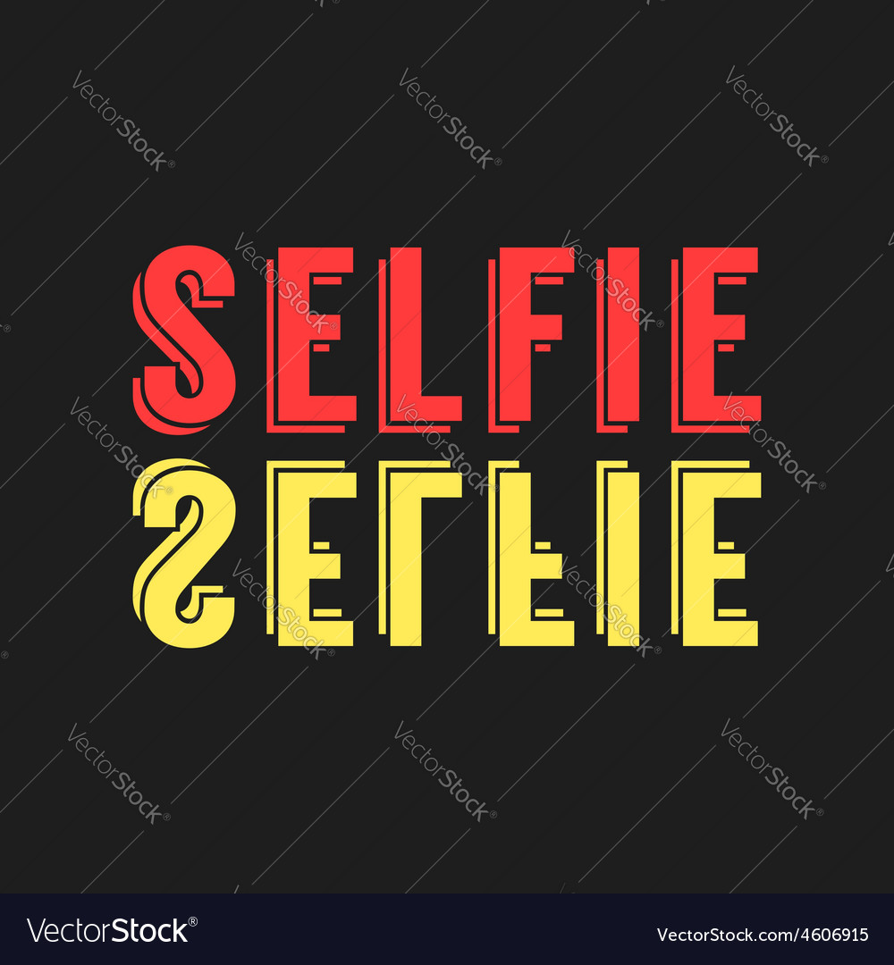 Colored lettering selfie reflection vector | Price: 1 Credit (USD $1)