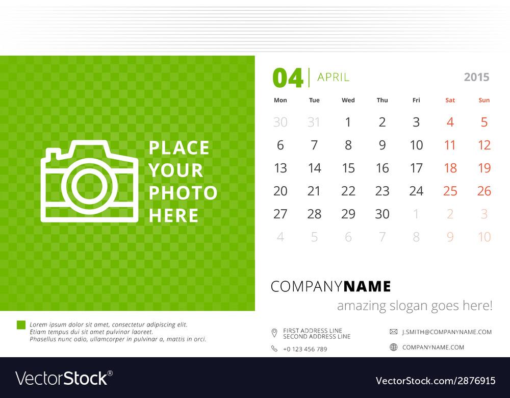 Desk calendar 2015 template week starts monday vector | Price: 1 Credit (USD $1)