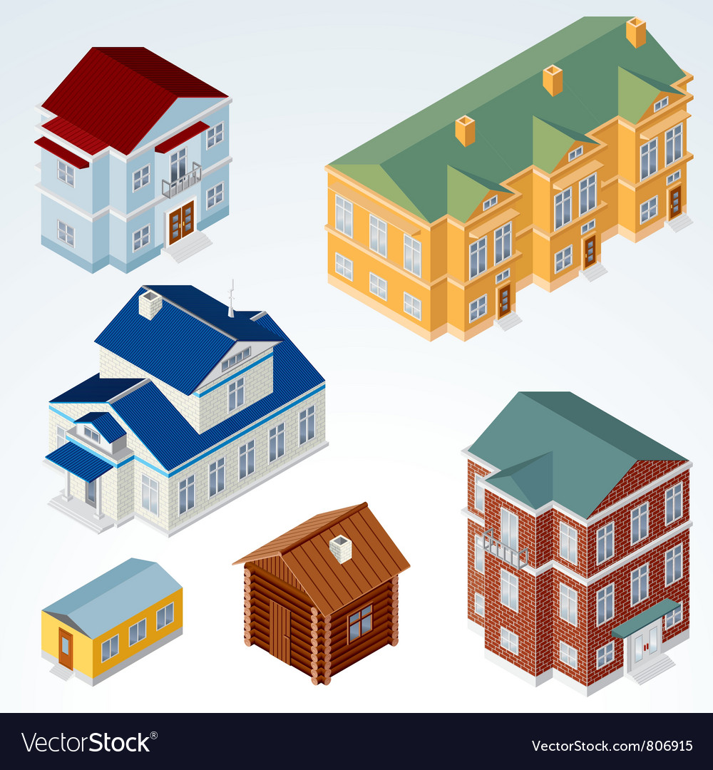 Isometric houses vector | Price: 3 Credit (USD $3)