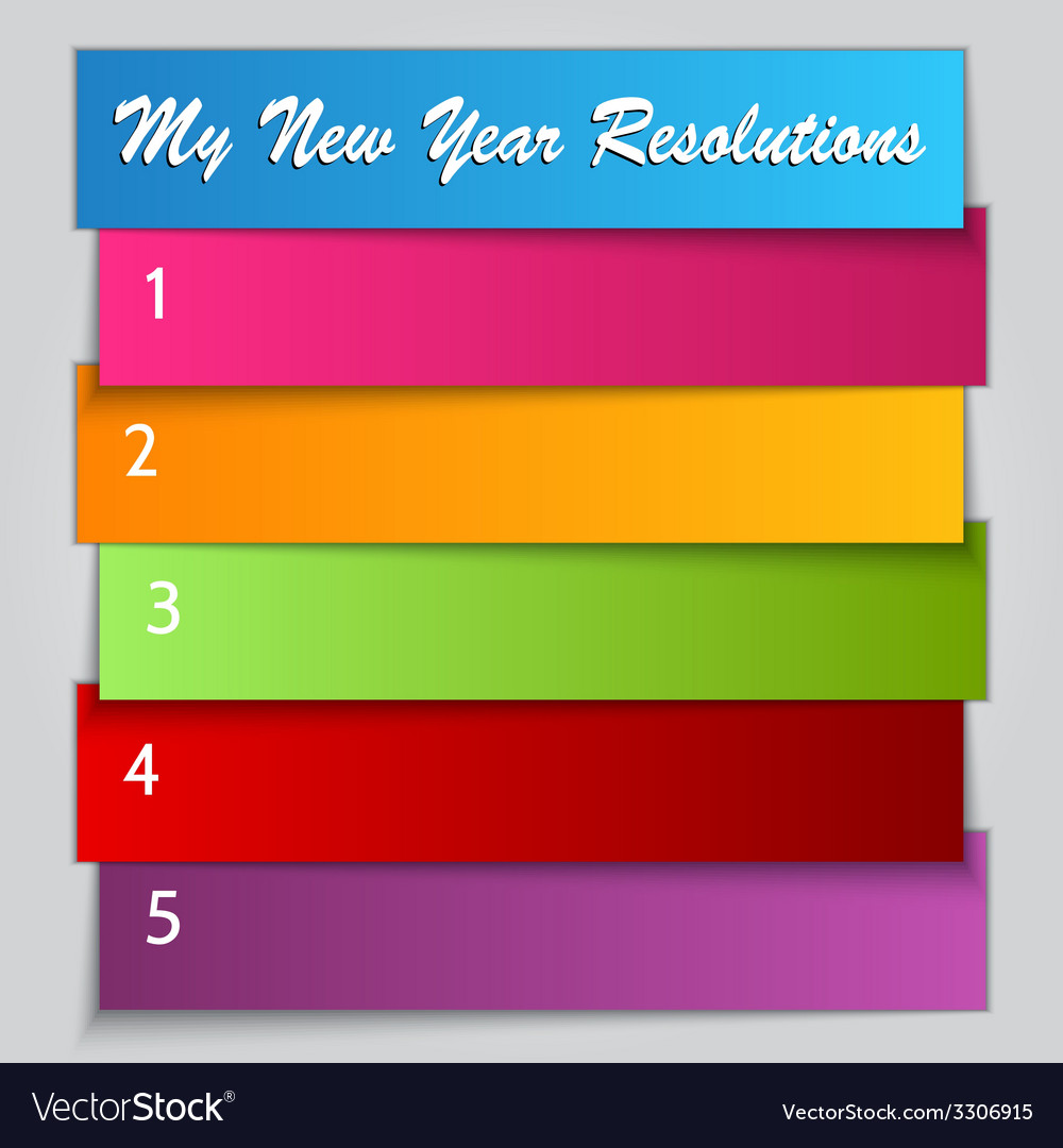 New year resolution list template vector | Price: 1 Credit (USD $1)