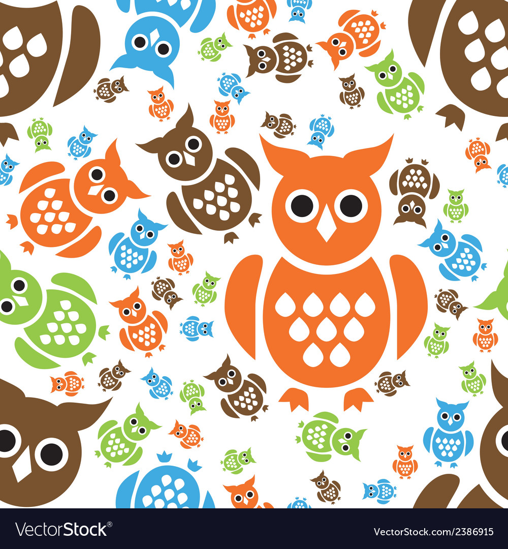 Owl seamless pattern vector | Price: 1 Credit (USD $1)