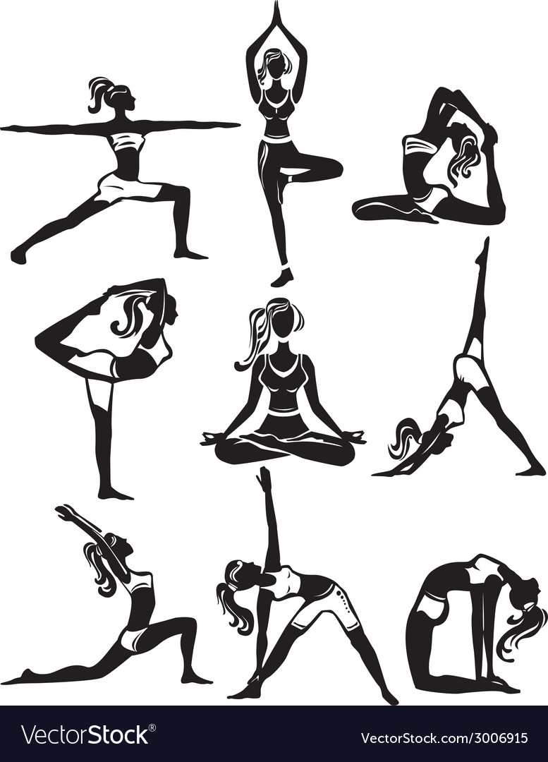 Set of meditating and doing yoga poses vector | Price: 1 Credit (USD $1)