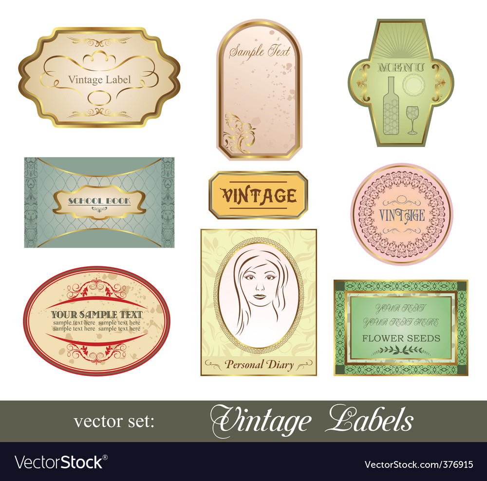 Set retro variation vintage labels vector | Price: 1 Credit (USD $1)