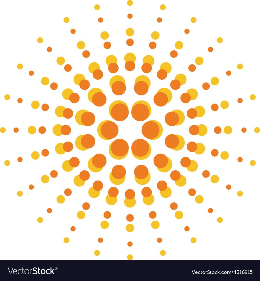 Sun burst round orange particles sign vector   Price: 1 Credit (USD $1)