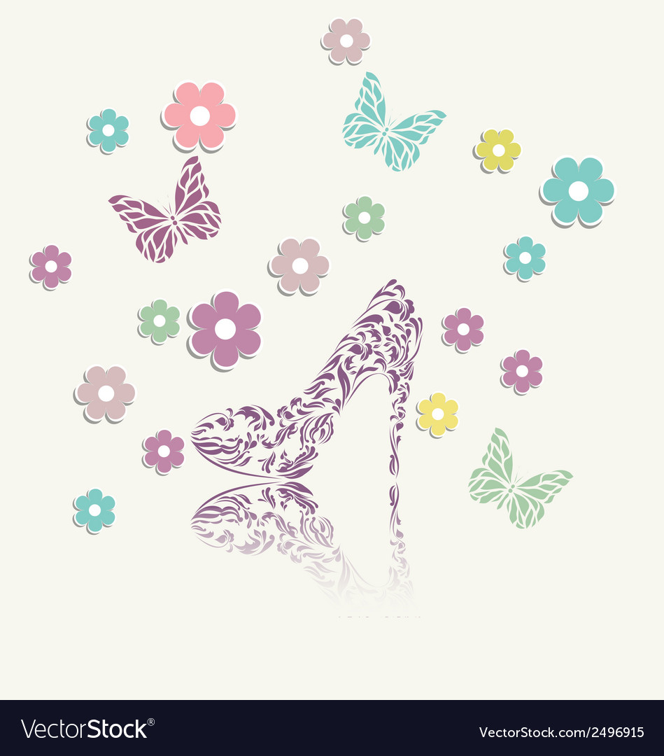 Vintage floral card of perfect shoes vector | Price: 1 Credit (USD $1)