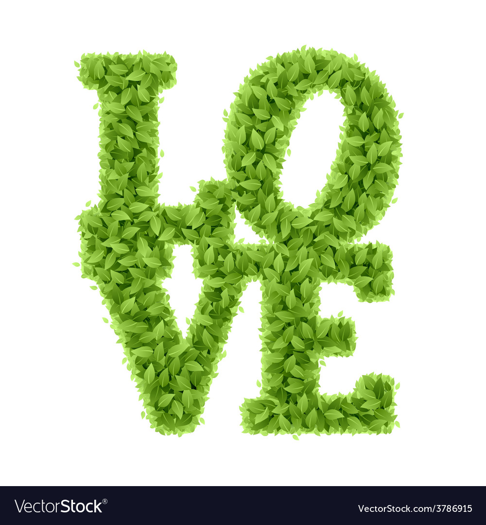 Word love from leaves vector | Price: 1 Credit (USD $1)