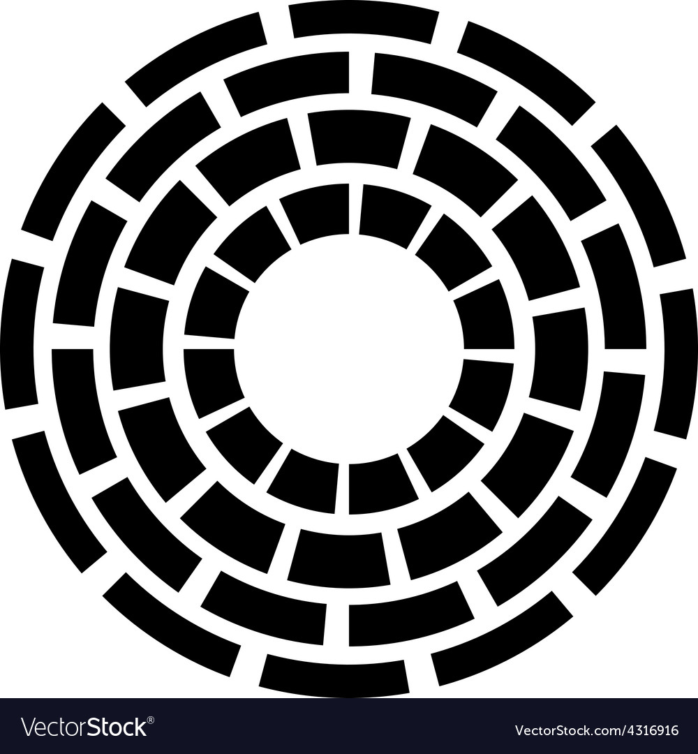 Concentric dashed circles sign vector | Price: 1 Credit (USD $1)