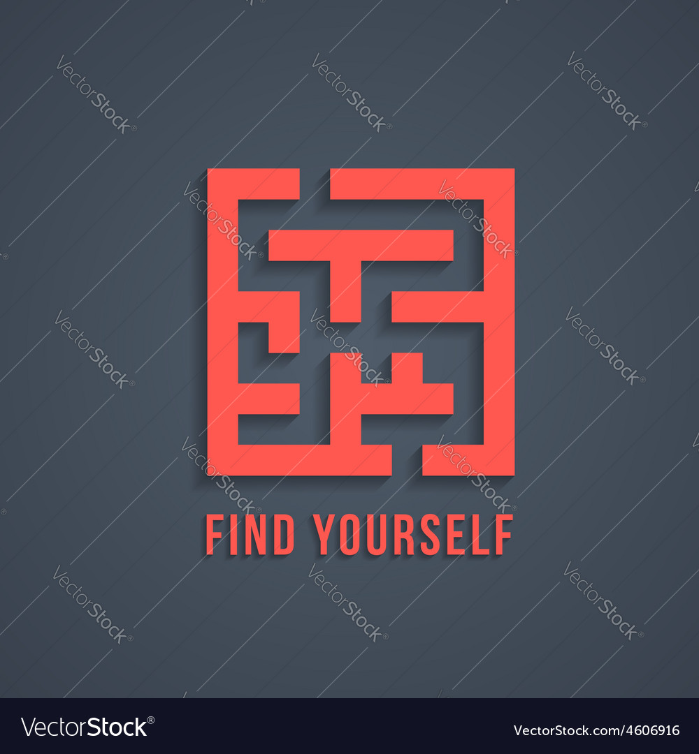 Concept of find yourself with maze vector | Price: 1 Credit (USD $1)
