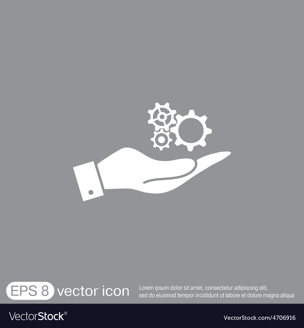 Hand holding a cogwheel icon setting and repair vector   Price: 1 Credit (USD $1)