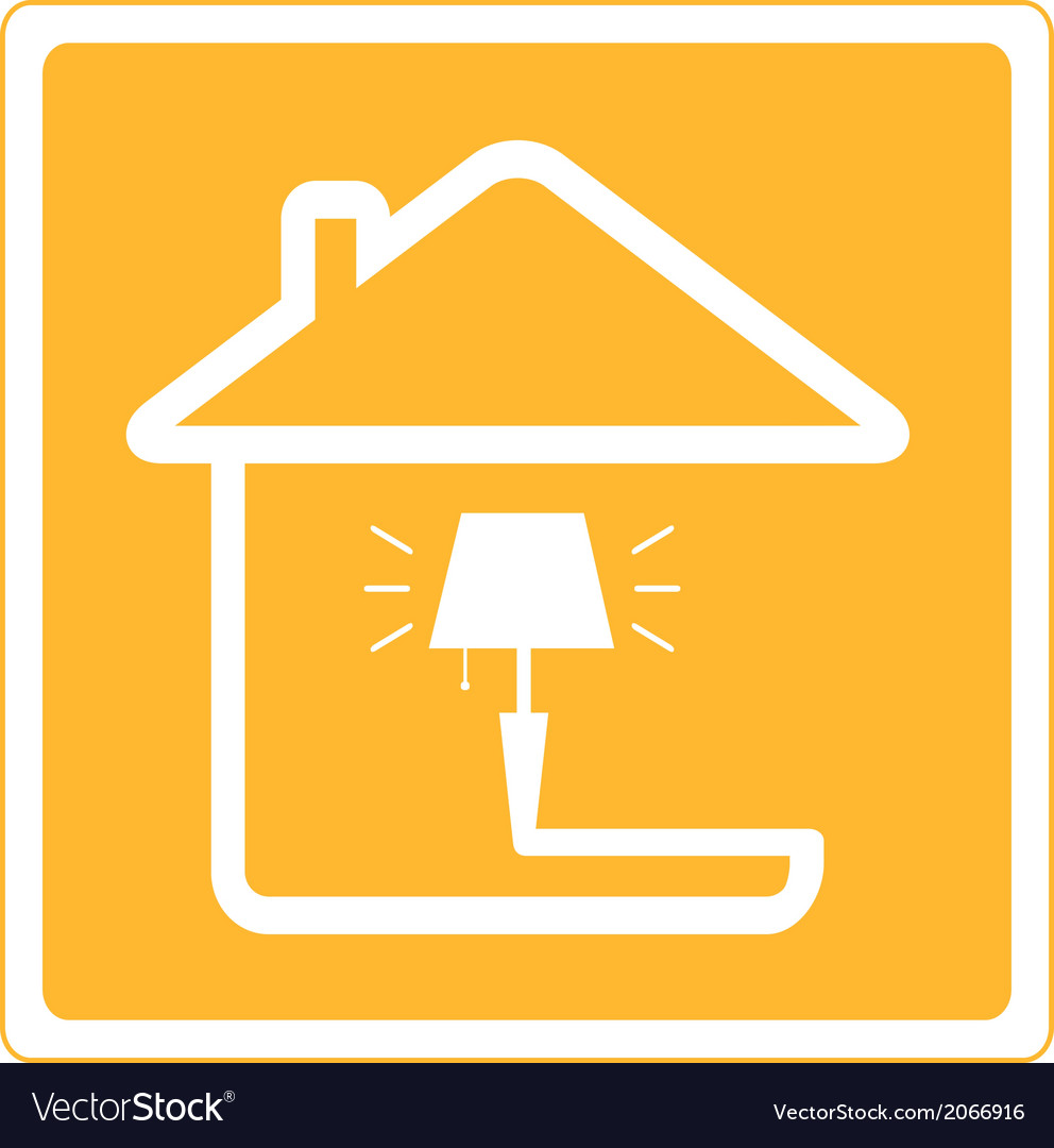 Icon with lamp and house vector | Price: 1 Credit (USD $1)