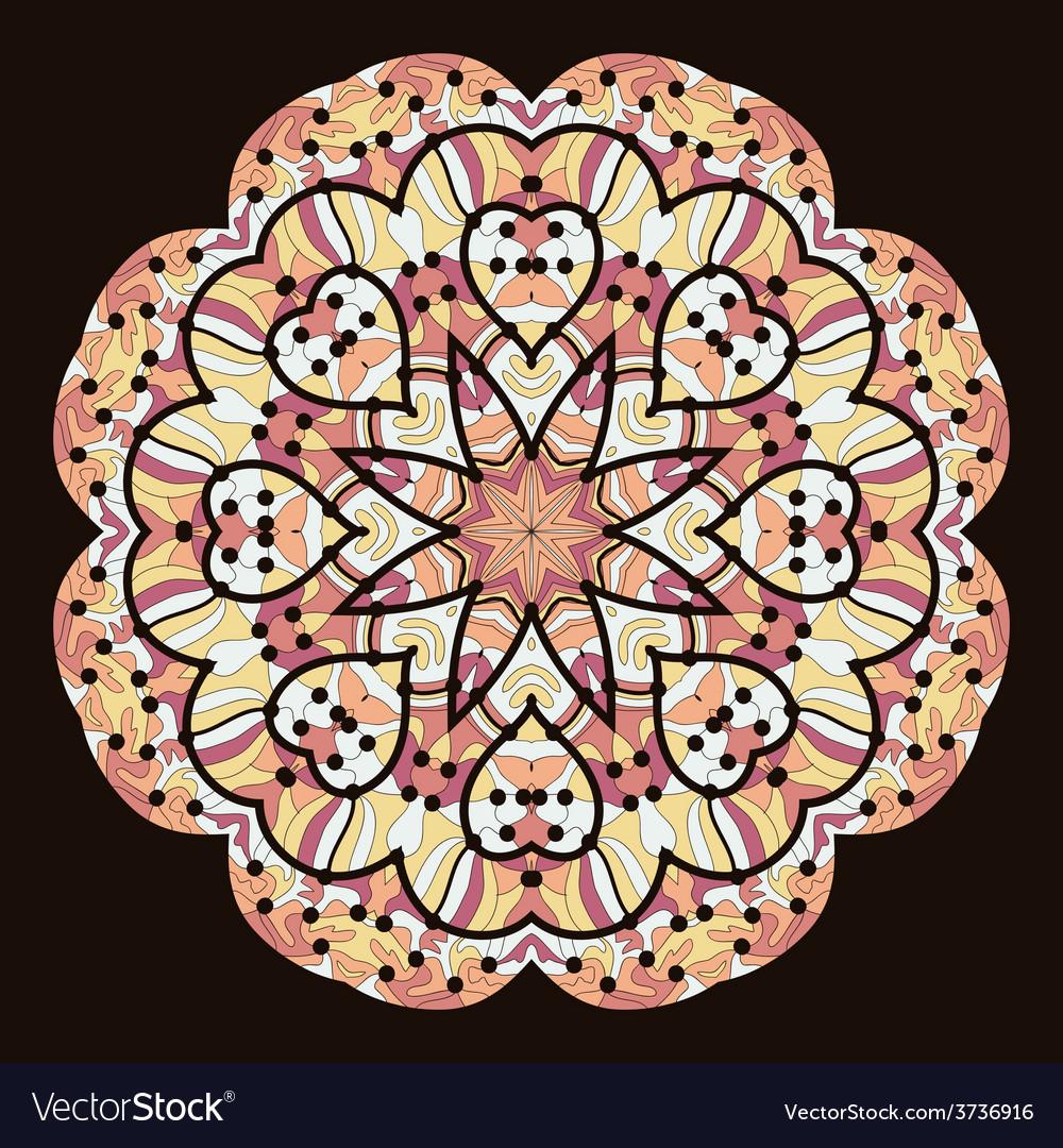 Kaleidoscopic unusual mandala of brown color vector | Price: 1 Credit (USD $1)