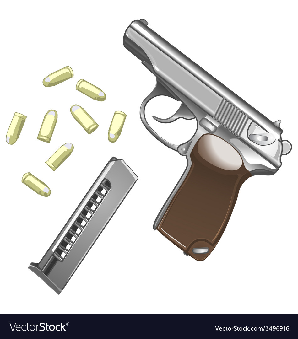 Metal pistol with bullets isolated on white vector | Price: 1 Credit (USD $1)