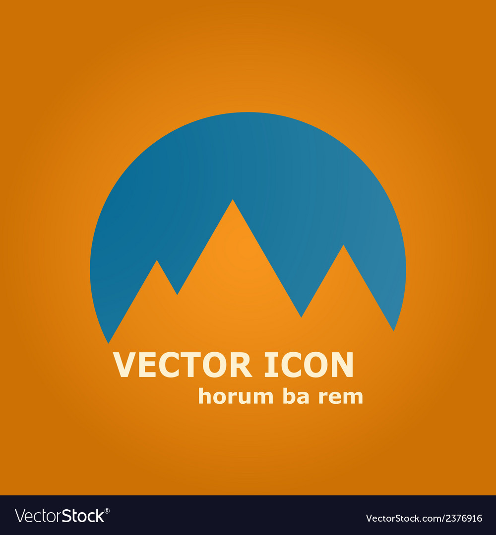 Mountains and sun icon vector | Price: 1 Credit (USD $1)