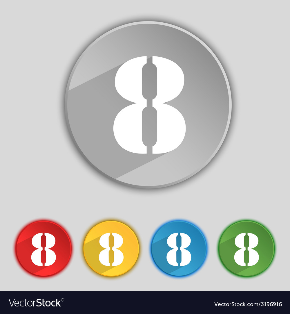 Number eight icon sign set of coloured buttons vector   Price: 1 Credit (USD $1)