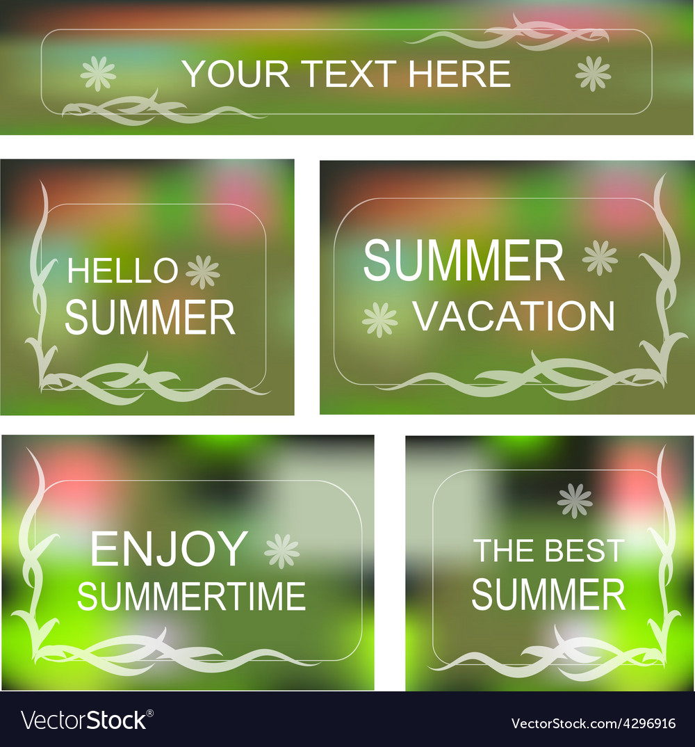Summertime background decorative frame set vector | Price: 1 Credit (USD $1)
