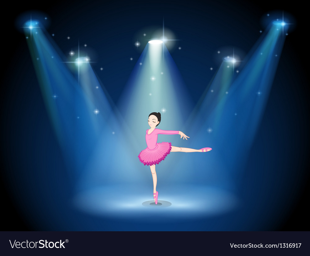 A lady in pink dancing ballet with spotlights vector | Price: 1 Credit (USD $1)