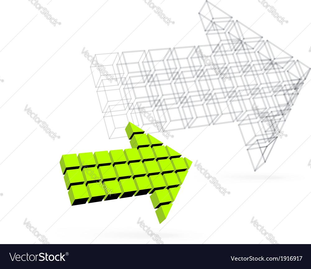 Arrow icon made of orange cubes vector | Price: 1 Credit (USD $1)