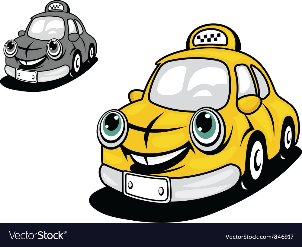 Cartoon yellow taxi vector | Price: 1 Credit (USD $1)