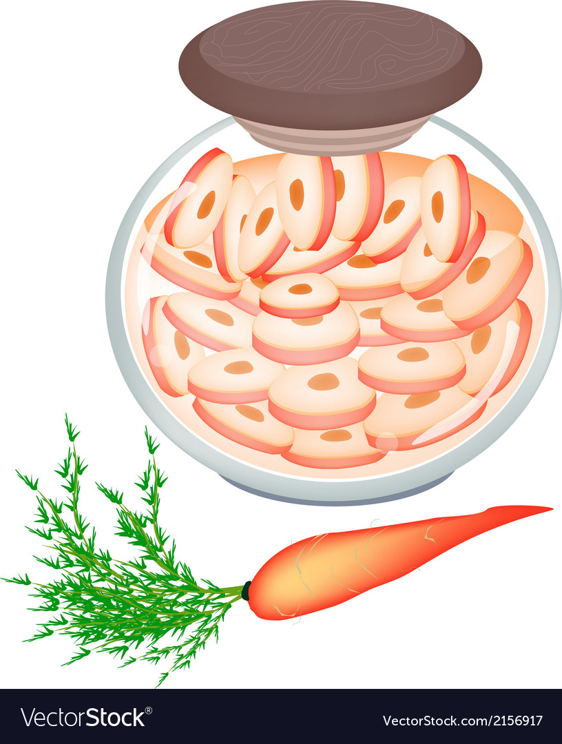 Delicious pickled carrot roots in a jar vector | Price: 1 Credit (USD $1)