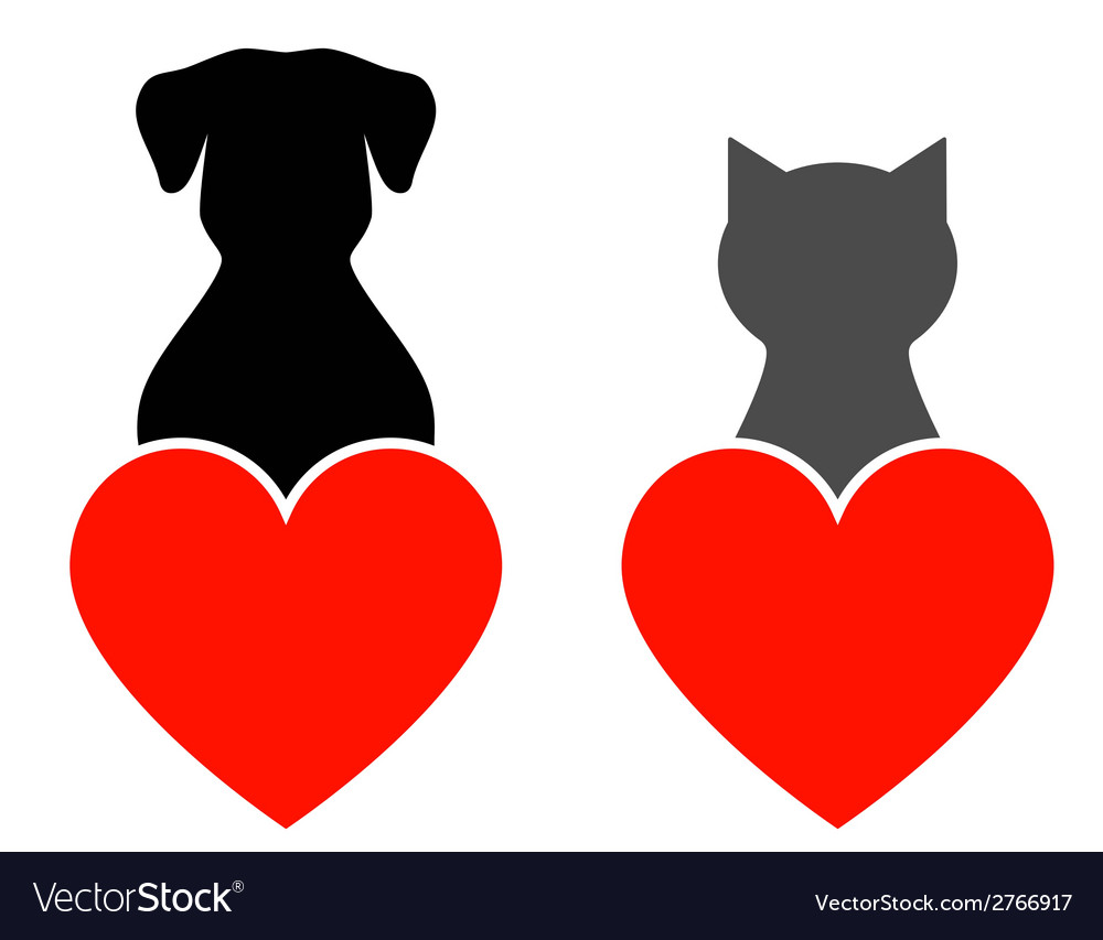 Dog and cat with heart vector | Price: 1 Credit (USD $1)