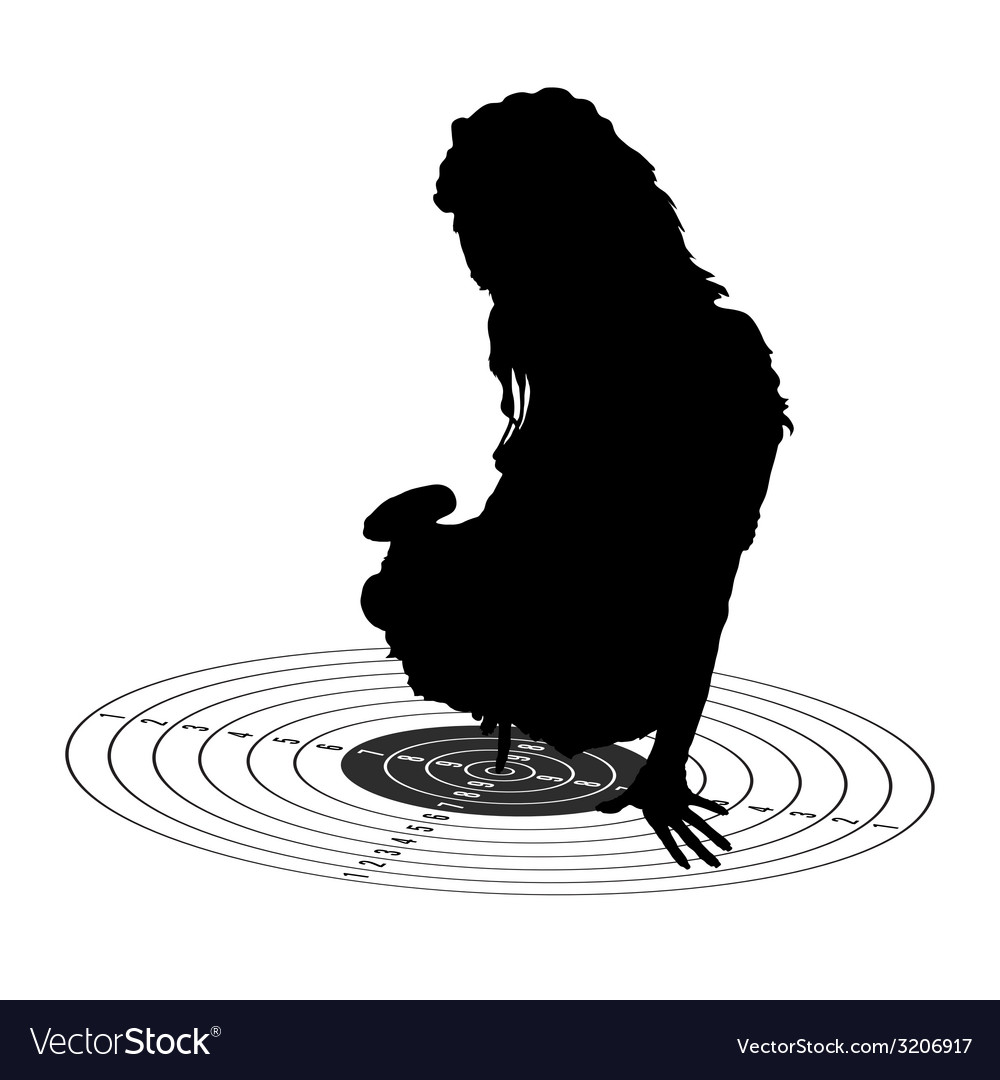 Girl show center on target silhouette vector   Price: 1 Credit (USD $1)