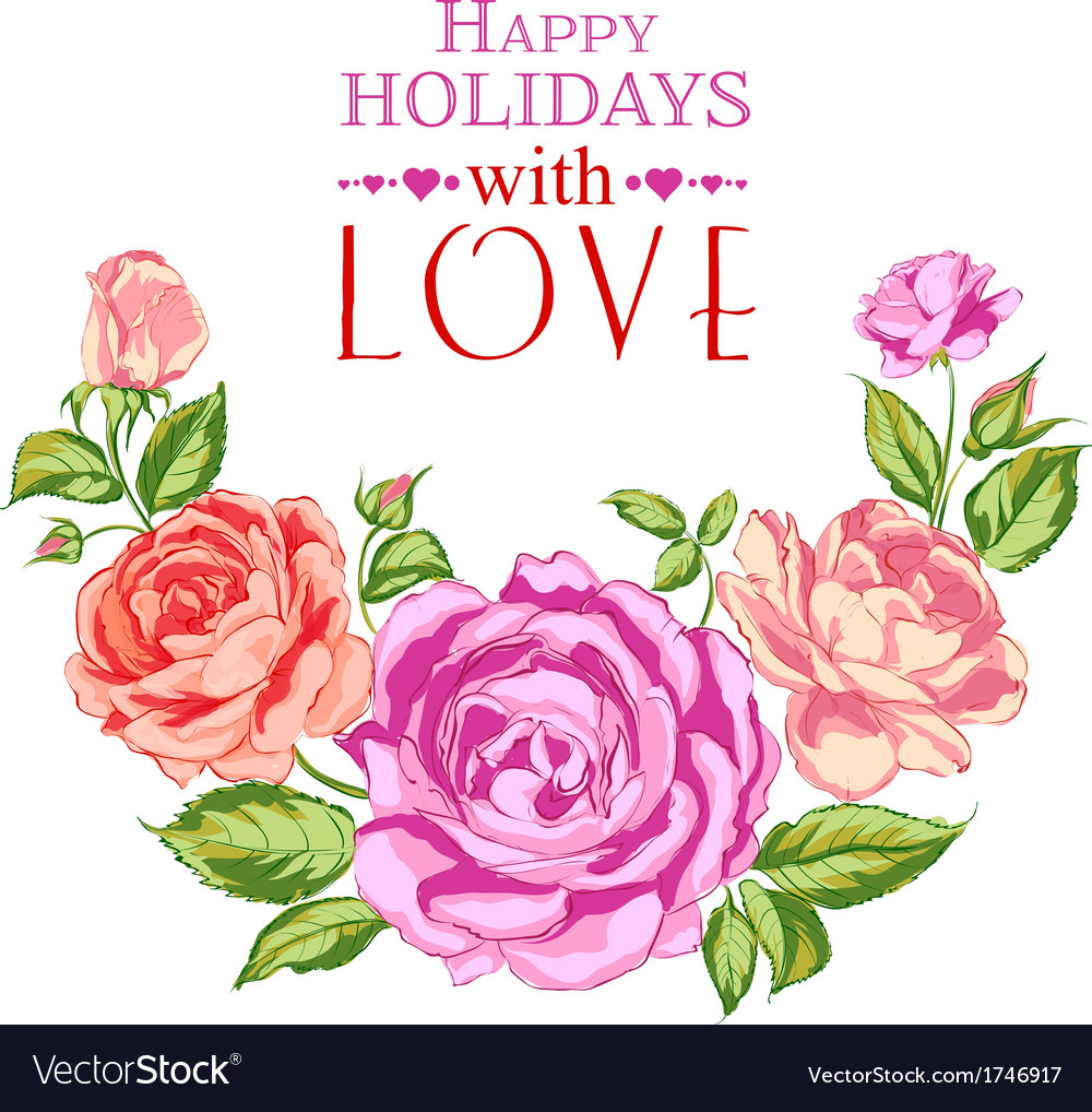 Rose garland in holiday vector | Price: 1 Credit (USD $1)
