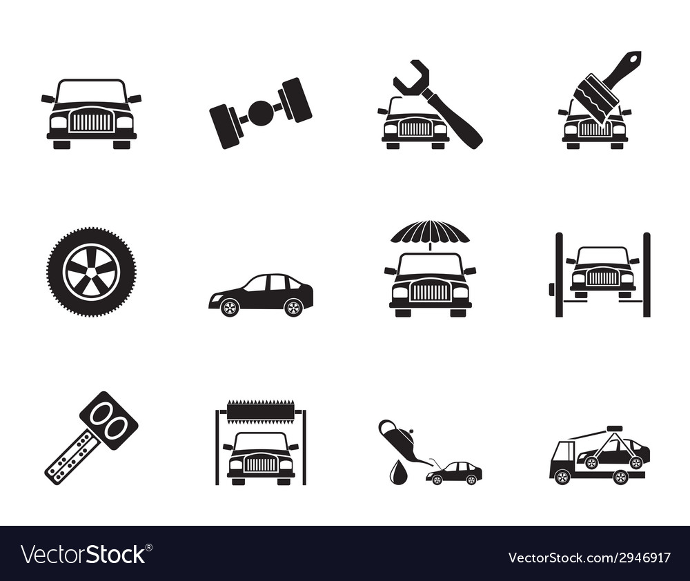 Silhouette auto service and transportation icons vector | Price: 1 Credit (USD $1)