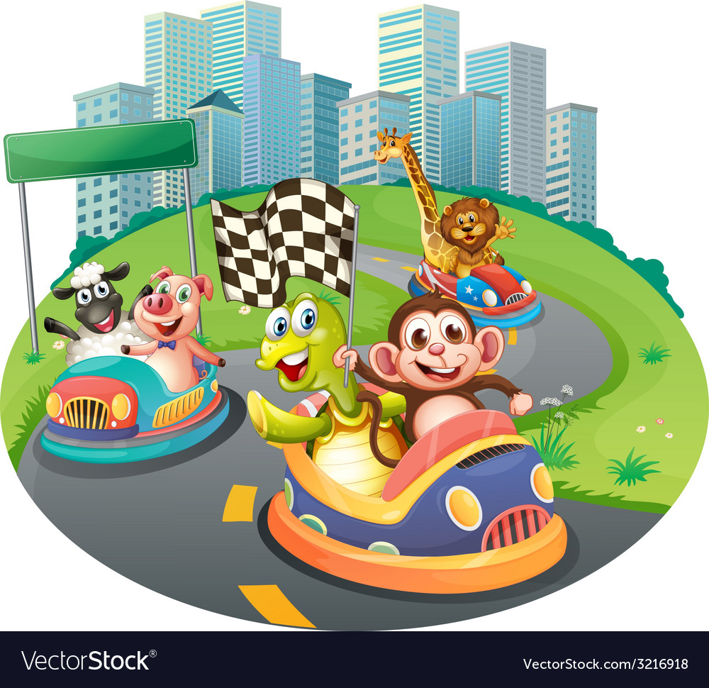 Animals and racing cars vector | Price: 3 Credit (USD $3)