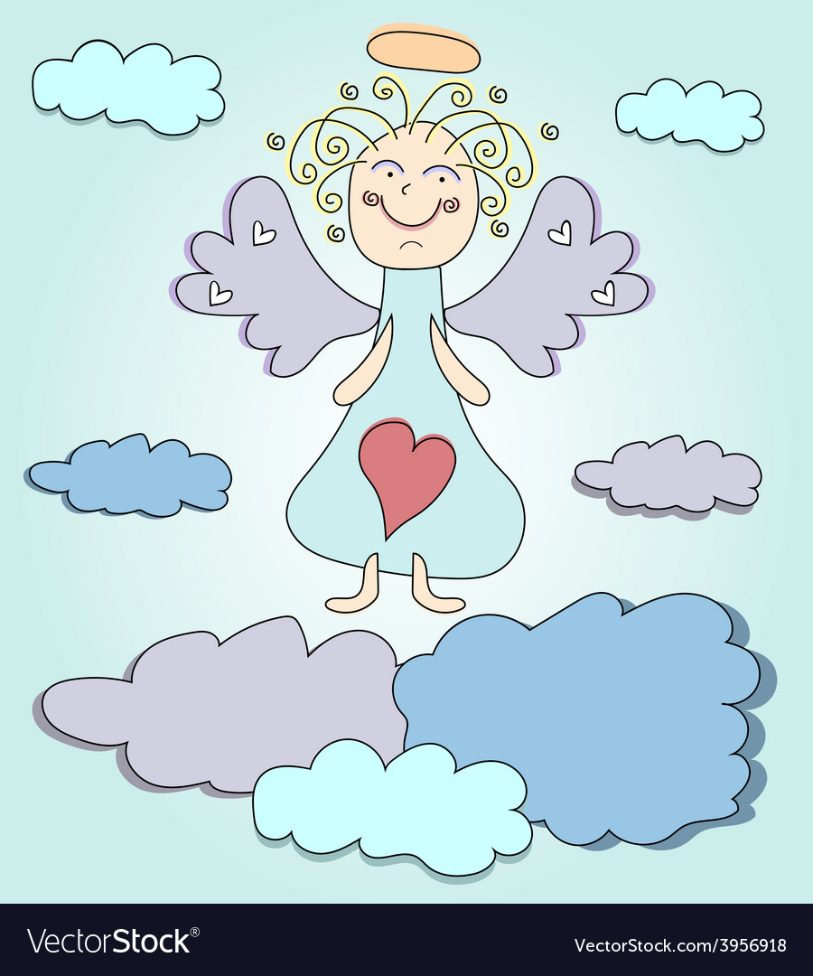 Blond angel with purple wings vector | Price: 1 Credit (USD $1)