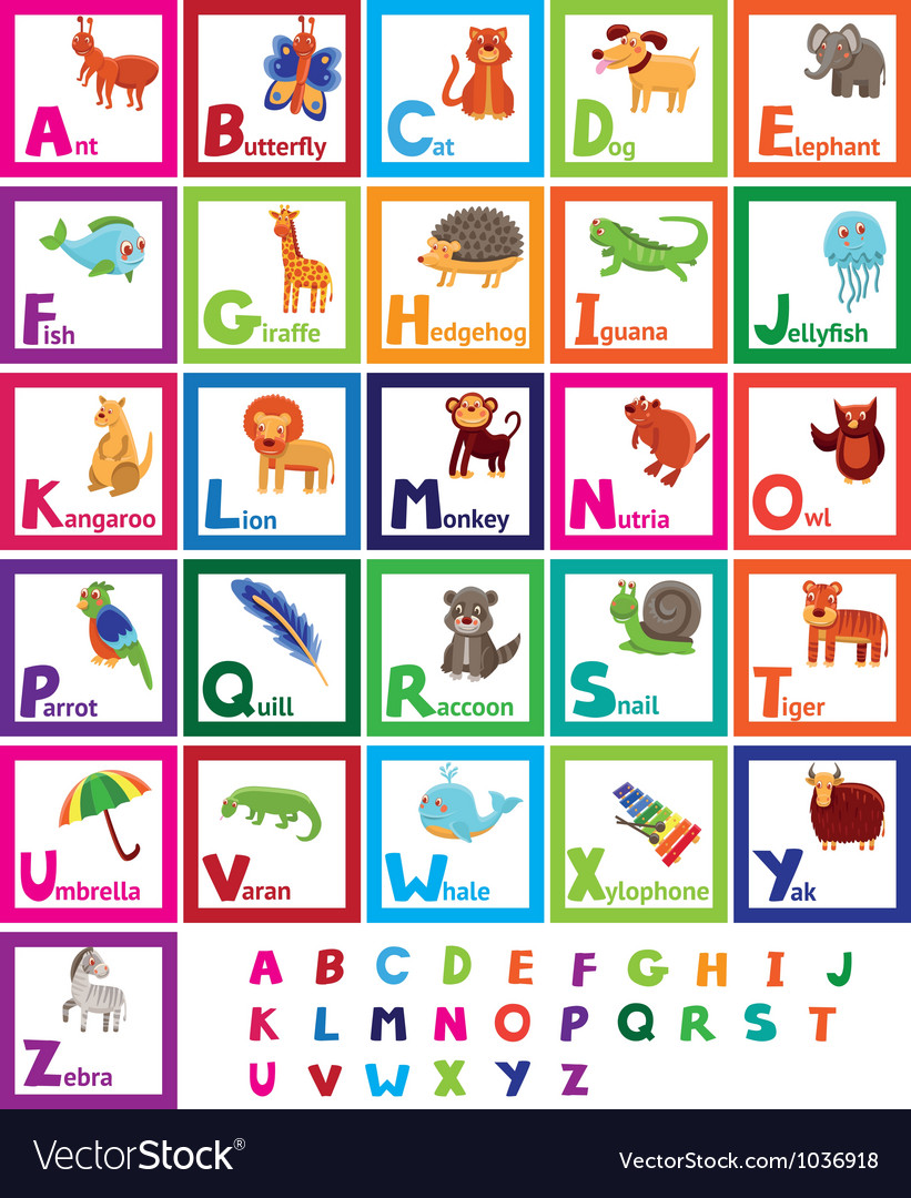 Cartoon alphabet with funny animals vector | Price: 1 Credit (USD $1)