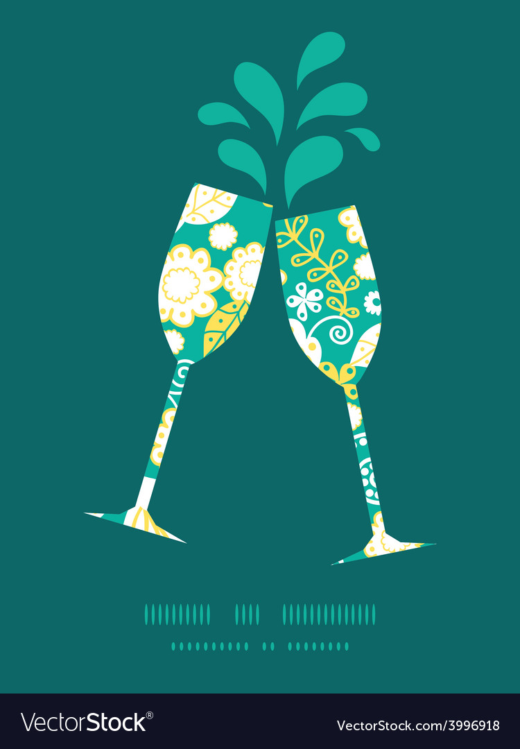 Emerald flowerals toasting wine glasses vector | Price: 1 Credit (USD $1)