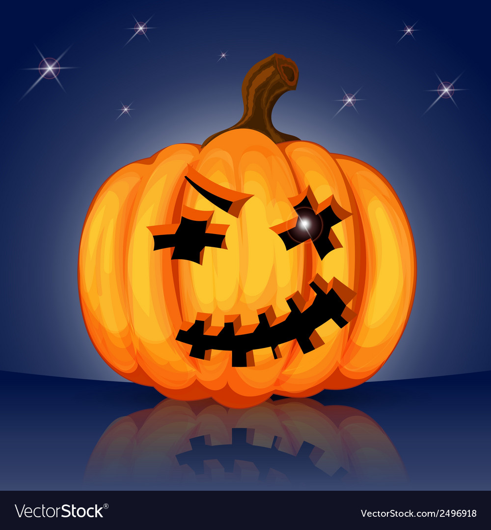 Evil scary halloween pumpkin vector | Price: 1 Credit (USD $1)
