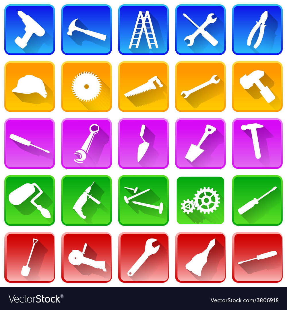 Set of repair and tools icons vector | Price: 1 Credit (USD $1)