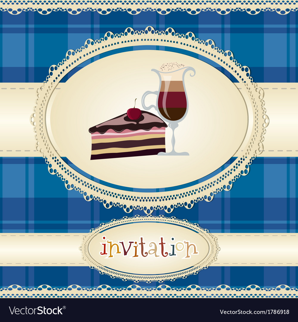 Vintage card-invitation-with coffee and cake vector | Price: 1 Credit (USD $1)