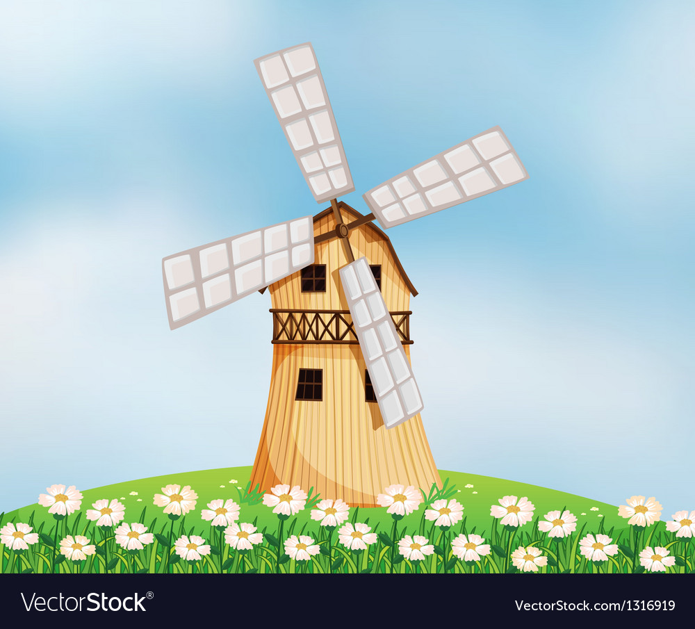 A barn with a windmill vector | Price: 1 Credit (USD $1)