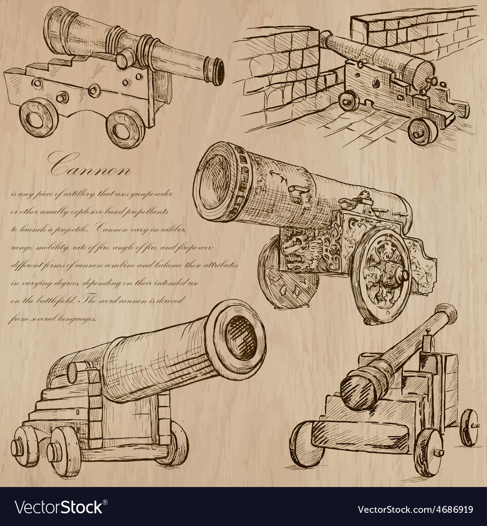 Cannons - an hand drawn converted vector | Price: 3 Credit (USD $3)
