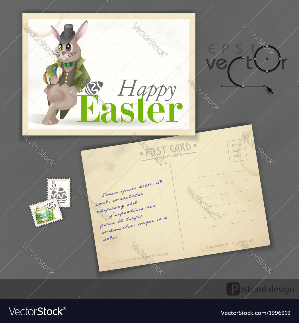 Easter background with bunny vector | Price: 1 Credit (USD $1)