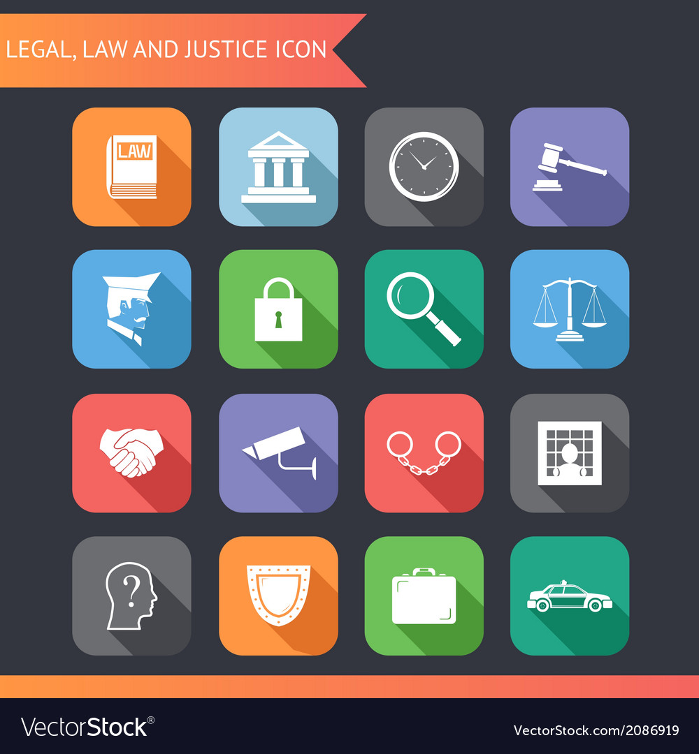 Flat law legal justice icons and symbols vector