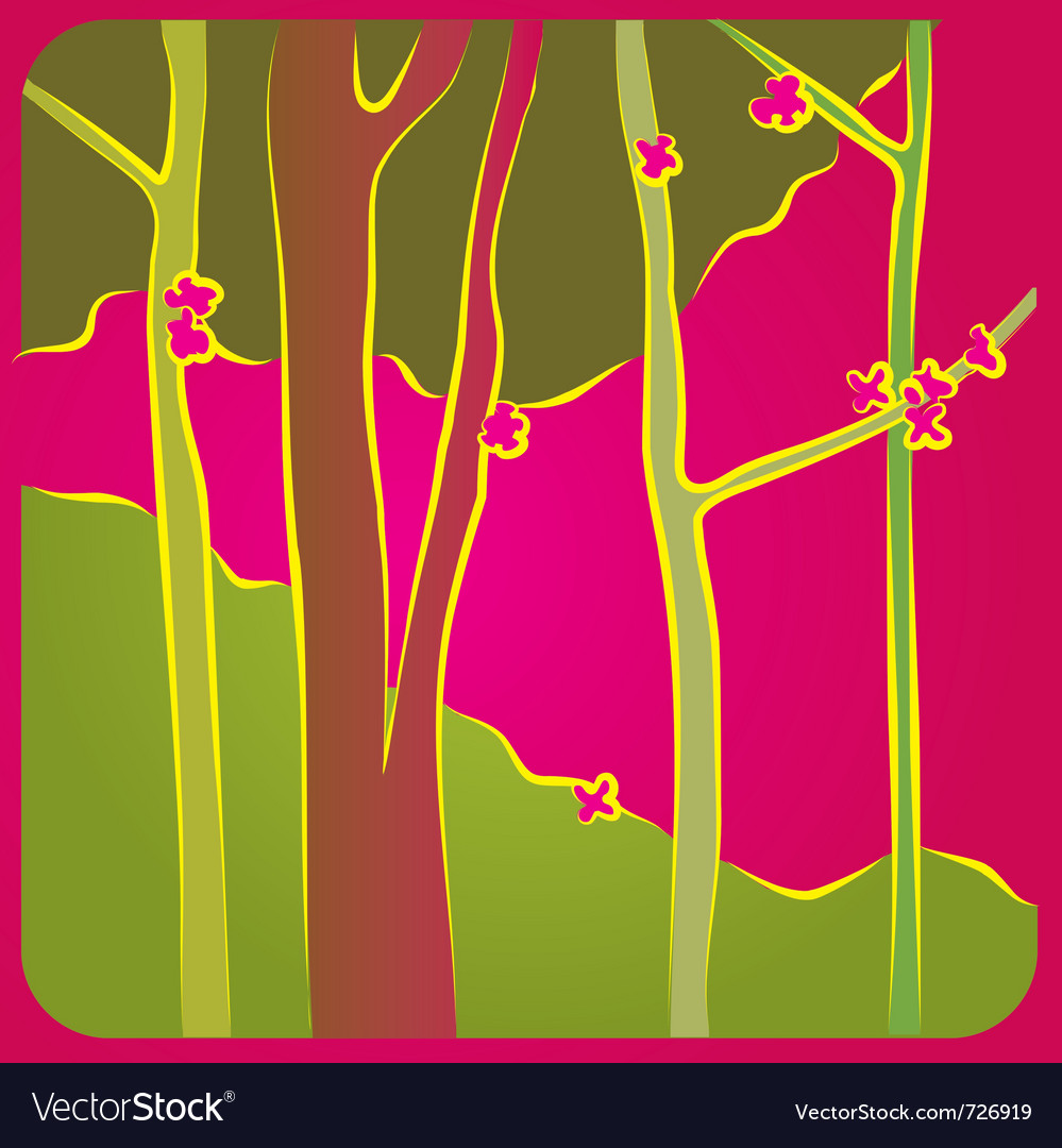 Forest in spring vector | Price: 1 Credit (USD $1)