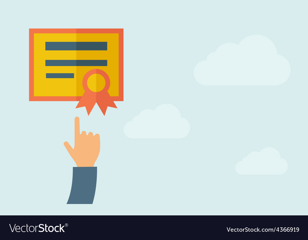 Hand pointing to a certificate vector | Price: 1 Credit (USD $1)