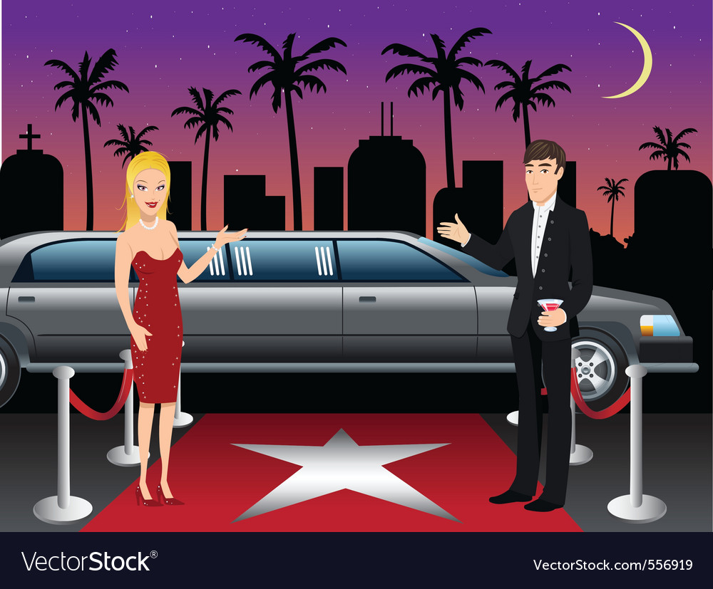 Hollywood red carpet hosts vector | Price: 3 Credit (USD $3)