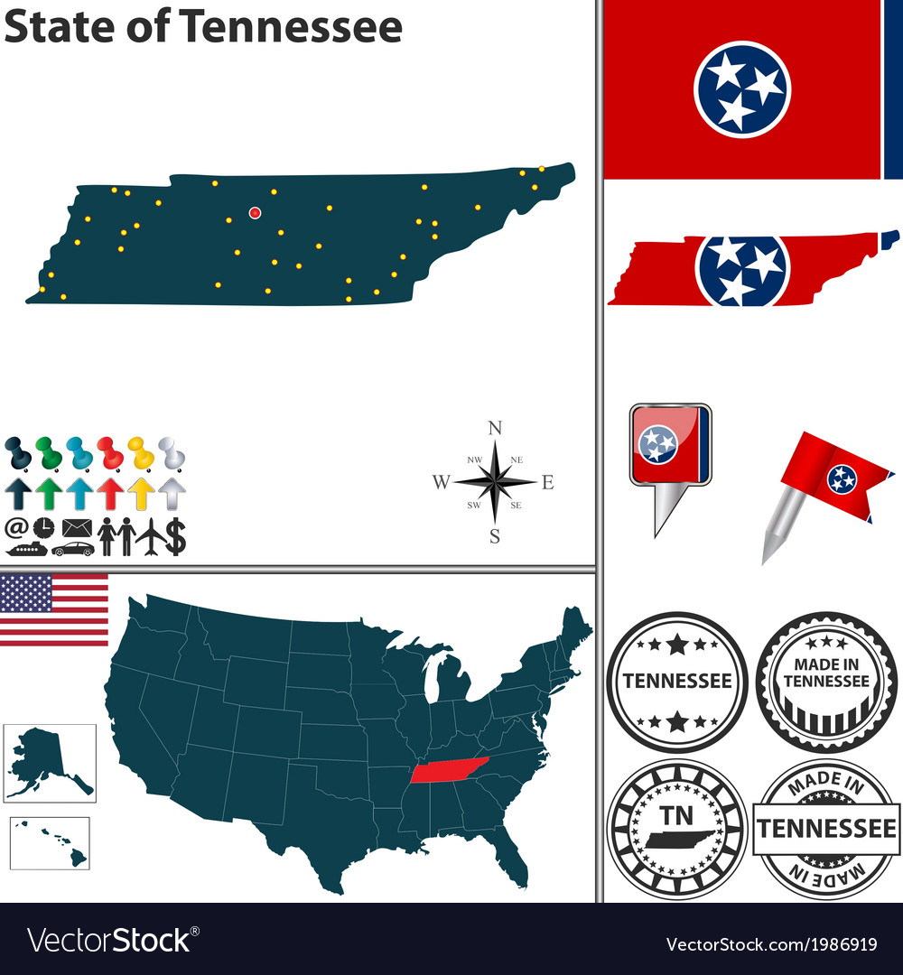 Map of tennessee vector | Price: 1 Credit (USD $1)