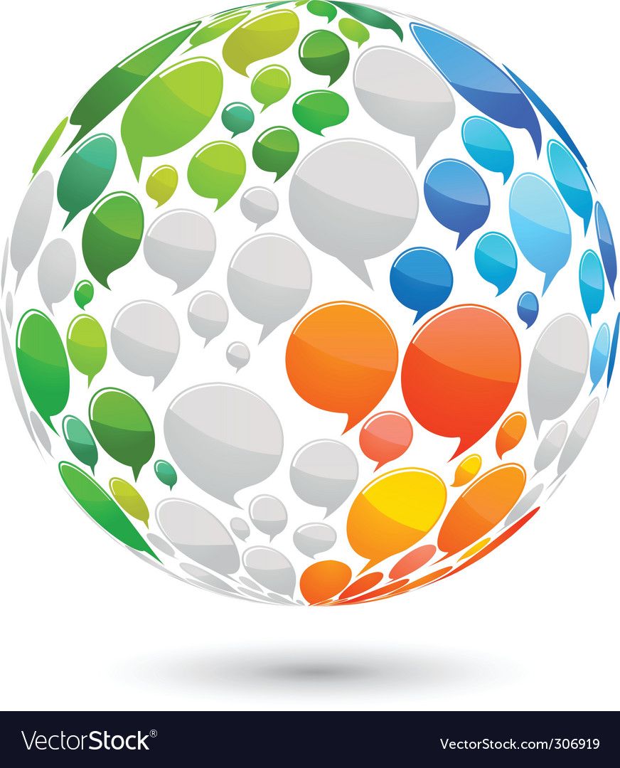Speech bubbles globe vector | Price: 1 Credit (USD $1)