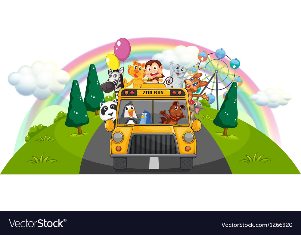 A yellow zoo bus at the road vector | Price: 1 Credit (USD $1)