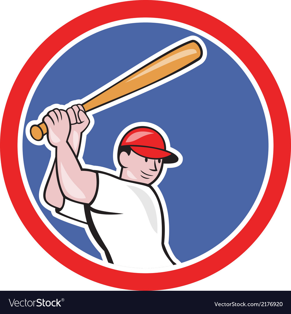 Baseball player batting circle cartoon vector | Price: 1 Credit (USD $1)