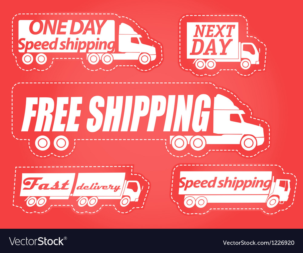 Fast delivery stickers collection vector | Price: 1 Credit (USD $1)